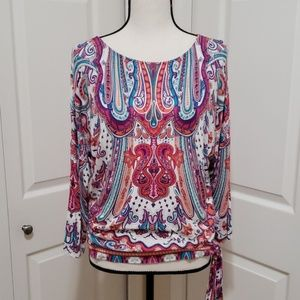 Chico's Colorful Paisley 3/4 Sleeve Tee, Side Tie